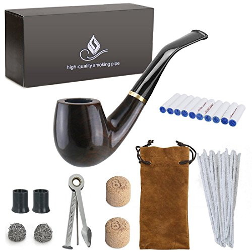 Joyoldelf Wooden Tobacco Smoking Pipe, Pear Wood Pipe with Pipe Cleaners, 9 mm Pipe Filters, 3-in-1 Pipe Scraper, Pipe Bits, Metal Balls, Cork Knockers, Bonus a Pipe Pouch with Gift Box Wooden Tobacco Smoking Pipe