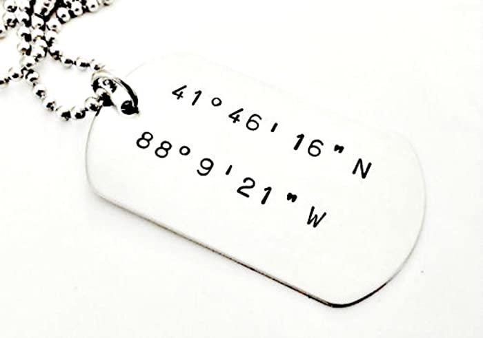 Amazon Coordinates Dog Tag Necklace Personalized Hand Stamped