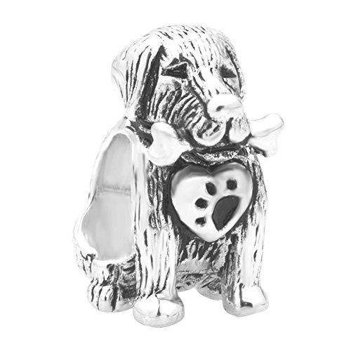 (LovelyCharms 925 Sterling Silver Dog Bone Paw Print Heart Animal Beads Fit Pandora Charm Bracelets)
