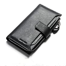 Women's Genuine Leather Bifold Long BusinessCardHolder Money Clip Purse WalletQB102C