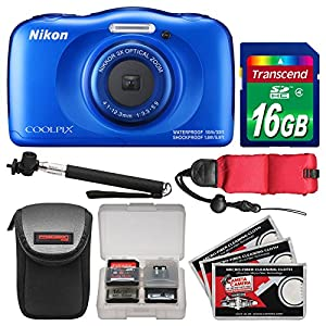 Nikon Coolpix W100 Wi-Fi Shock & Waterproof Digital Camera (Blue) with 16GB Card + Case + Selfie Stick + Float Strap + Kit
