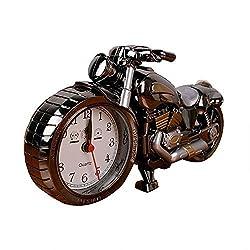 Leoie Creative Artistic Motorbike Alarm Clock of Luxury Retro Style Desk Clock Model for Household Shelf Decorations Dial Color Random