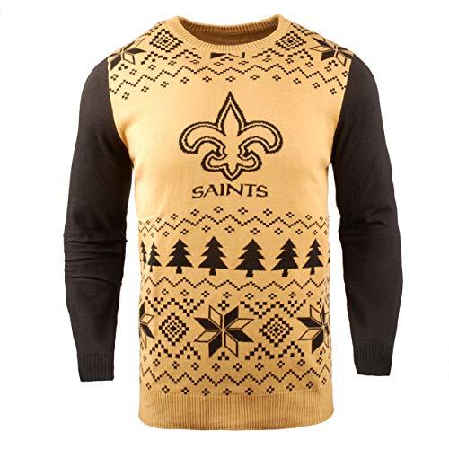NFL New Orleans Saints Two-Tone Cotton Ugly Sweatertwo-Tone Cotton Ugly Sweater, Gold, X-Large