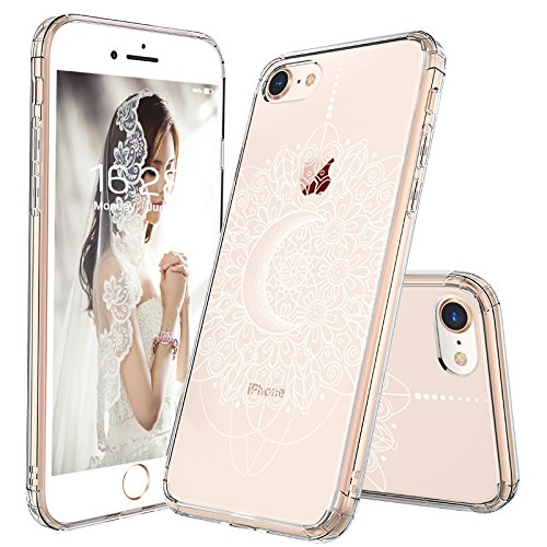 iPhone 7 Case, iPhone 8 Clear Case, MOSNOVO White Moon Henna Mandala Lace Pattern Printed Clear Design Plastic Back Case with Soft TPU Bumper Protective Cover for iPhone 7 (2016) - Soft Plastic Case Pattern