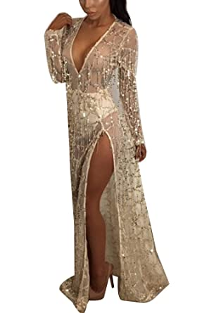 7002b31d Gladiolus Women See Through Maxi Dress Deep V Neck Long Sleeve Beach  Sequins Split Long Dress: Amazon.co.uk: Clothing