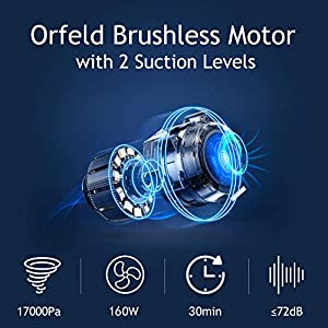 ORFELD Cordless Vacuum, Stick Vacuum Cleaner 4 in 1, Upgrade Version with 17000 Pa Powerful Suction, Lightweight & Ultra-Quiet Handheld Vacuum for Car Pet Hair Carpet Hard Floor