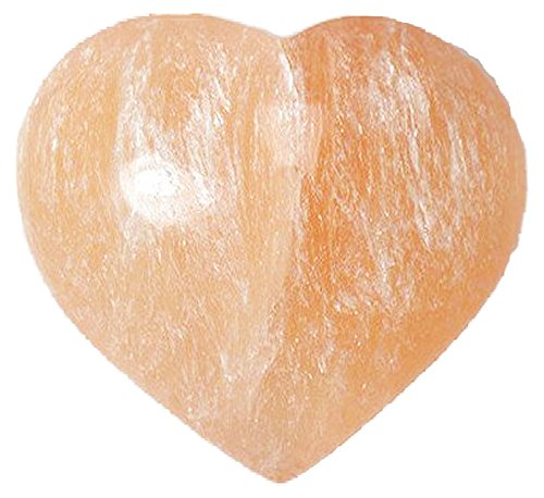 2 Pcs Selenite Puffy Hearts 2-2.5