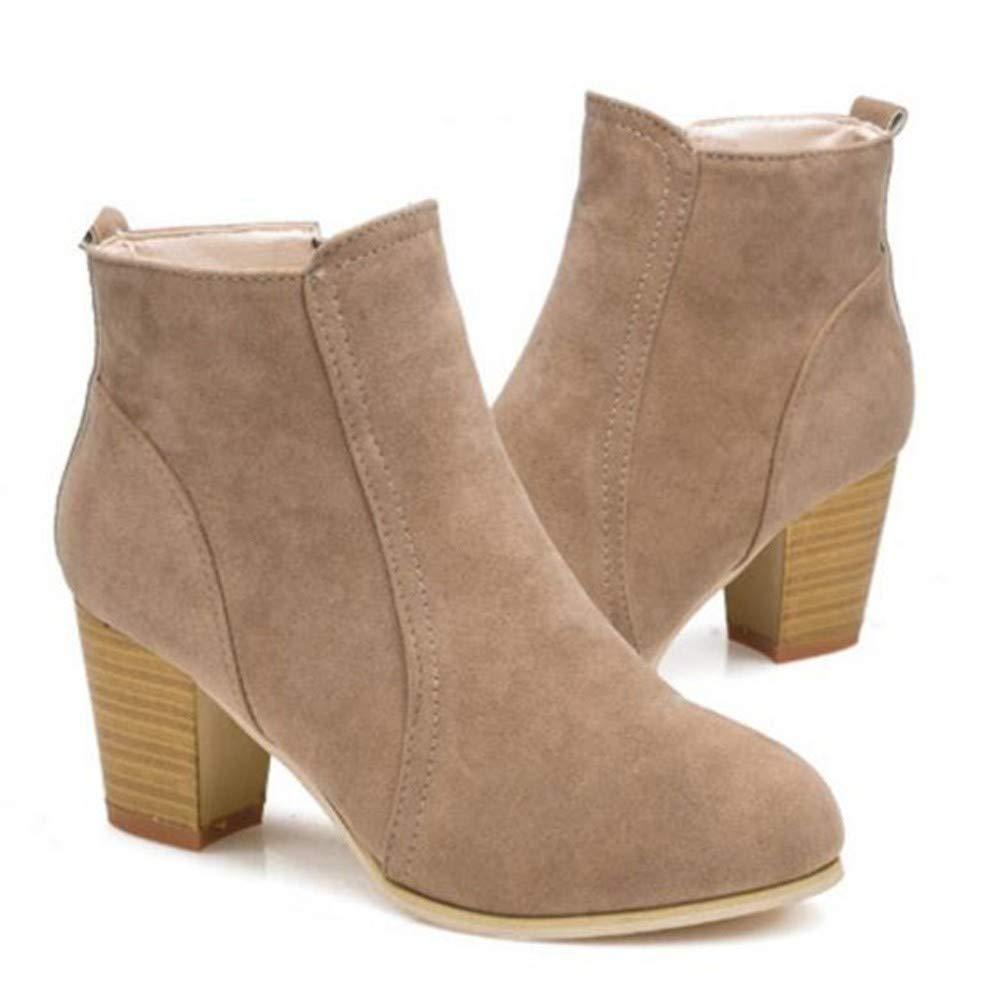 UENGF High Heel Herbst Und Winter Kurze Frauen Zylinder Schuhe Mit High Heels Schuhe Martin Schuhe Frauen Kurze Mit Dickem Gestrüpp 45b314