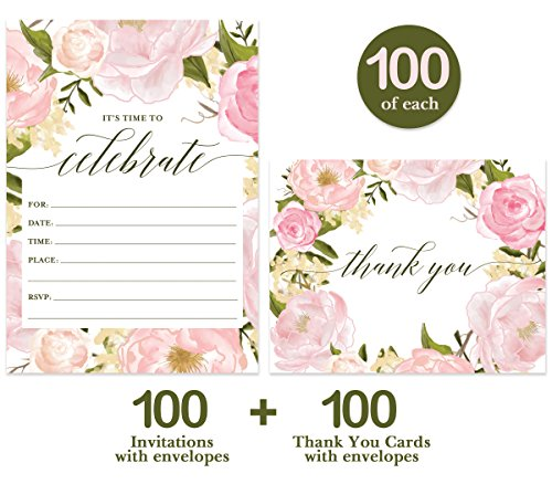 All Occasion Invites ( 100 ) & Thank You Cards ( 100 ) Matched Set with Envelopes Any Large Event Graduation Birthday Shower Fill-in-Style Guest Invitation & Folded Thank You Notes Great Value Pair by Digibuddha (Image #1)