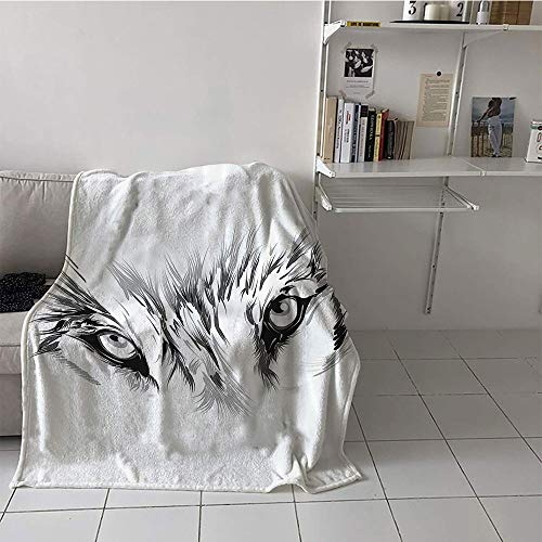 Suchashome Children's Blanket Print Microfiber All Season Blanket (50 by 60 Inch,Tattoo Decor,Winter Time Animal White Wolf with its Eyes Looking Straight and Fierce,White and -