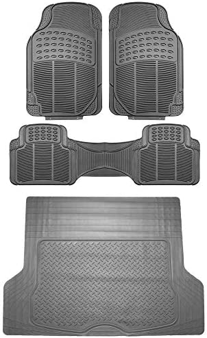 FH Group F11306 + F16400 Trimmable Vinyl Floor Mats (Gray) Full Set – Universal Fit for Cars Trucks and SUVs