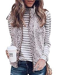 Angashion Women's Warm Sherpa Fleece Zip Up Reversible Vest Sleeveless Lightweight Jacket Outwear with Pockets