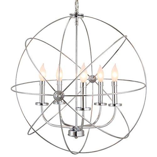 """Kira Home Orbits II Large 24"""" 5-Light Modern Sphere/Orb Chandelier, Chrome Finish"""