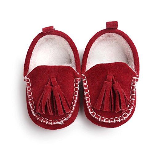 Mocasín combinada con pompones de 0a 18meses, colores diferentes 0/6Meses, 12/18Meses, 6/12Meses rojo rojo Talla:0/6 meses rojo