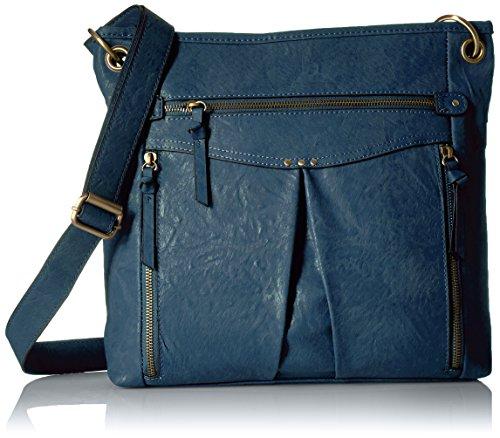 Bueno of CaliforniaKVG-58120E - Bolso de hombro con múltiples bolsillos con cremallera, azul oscuro Mujer Azul Oscuro