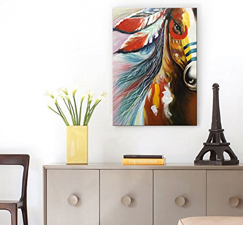Winpeak Art Hand Painted Large Canvas Wall Art Abstract Horse Oil painting Modern Contemporary Decorative Artwork Framed Ready to Hang (36''W x 48''H) by Winpeak Art