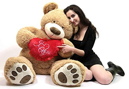 Big Plush I Love ❤ You 5 Foot Giant Teddy Bear Soft Holds Heart Embroidered I ❤ You