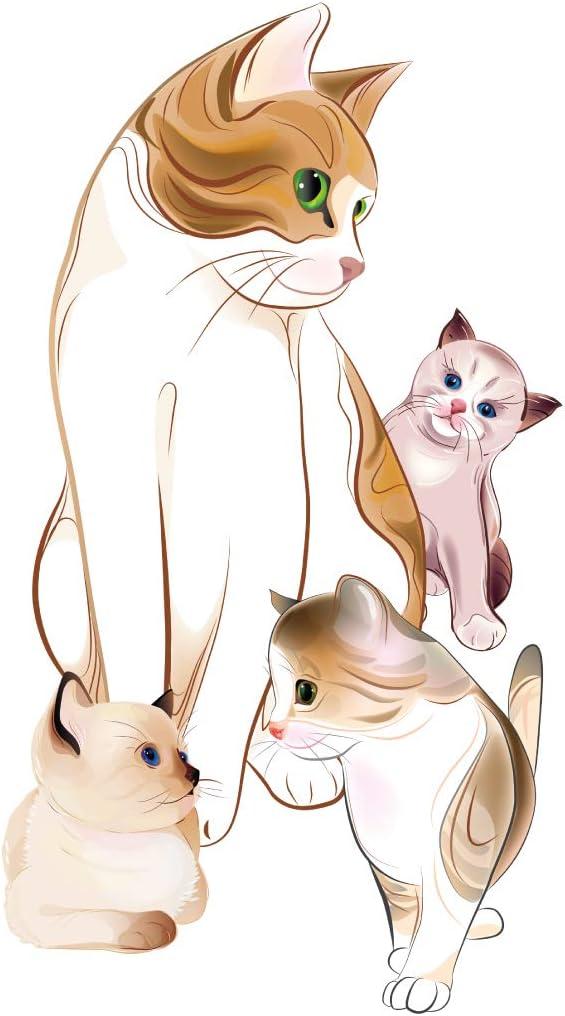 Pegatina de pared Animales Familia de gatos dulces Calcomanía de pared Pegatinas para dormitorios Cama: Amazon.es: Bricolaje y herramientas