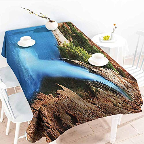 Homrkey Washable Table Cloth Waterfall Decor Collection Waterfall Cliff Vibrate Colors Sunny Summer Wild Nature Print Turquoise Peru Green Easy to Clean W70 xL102 -