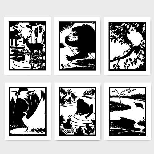 "(Set of 6) Art Deco Silhouette Prints, Black and White Decor ""Lion Mouse Peacock Deer Tortoise Hare Frog Owl"" (Art Deco Silhouette)"
