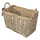Valiant Cottered Hessian Jute Lined Rattan Wicker Basket, Brown, 44 x 23 x 30 cm