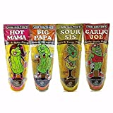 Van Holtens Character Pickle Sampler Case Dill Hot Sour Garlic 4 Flavor 12 pack in a Pouch Variety Bundle Including Big Papa Hot Mama Sour Sis Garlic Joe