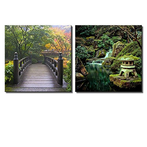 Two Piece Bridge Surrounded by Trees on a Japanese Garden and a Shrine Statue Next to a Waterfall on 2 Panels
