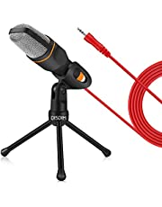 DISDIM PC Microphone, 3.5mm Jack Condenser Recording Microphone with Mic Stand for PC, Laptop, iPh0ne, iP@d, Mac, Smartphone - Gaming, Singing, YouTube, Skype (Black)