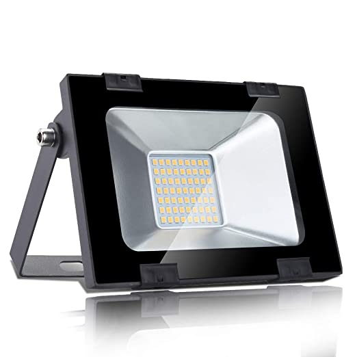 30w Foco led exterior,Led Proyector para Exterior Iluminación Decoración alto brillo 3000LM IP 65 ,3000K blanco Cálido,luz led para Jardín, Garaje, ...