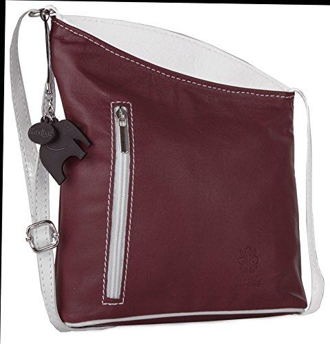 Big Handbag Shop Womens Small Genuine Soft Italian Leather Cross Body Bag - Deep Red - White - Red Leather Deep Handbag