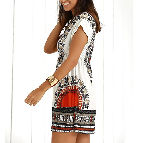 Femmes Sundress ImprimE DGagement Robe Lady D'T Courtes Manches Robes Ethnique Mini Dames De Blanc DContract IqwggH18