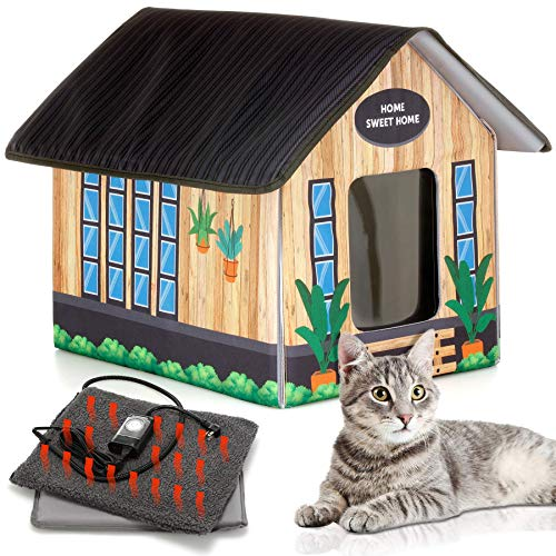 PETYELLA Outdoor Cat House Feral Cat Shelter (Heated) – Easy to Assemble – Cat Houses for Outdoor Cats