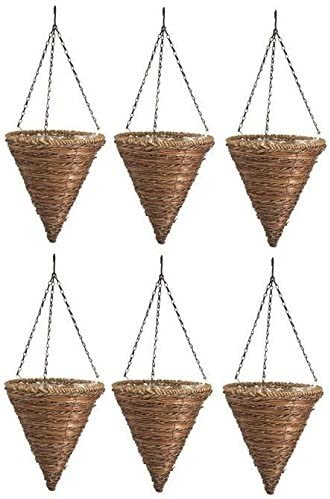 6 ea Panacea Products 88636 12 , Rope Fern Wicker Cone Hanging Basket Planters
