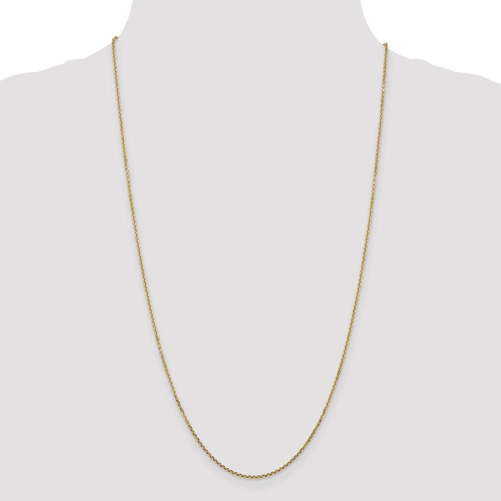 14K Yellow Gold 1.3mm Solid Faceted-Cut Cable Chain Necklace