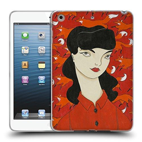 Official Amanda Laurel Atkins Fox Pattern Ladies Soft Gel Case for Apple iPad mini 1 / mini 2 / mini 3 - Laurel Pattern