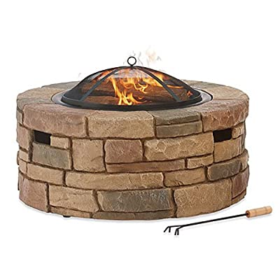 Bond 67818 Fs Rockford Fire Pit - Rockford wood burning fire pit Four seasons courtyard Envirostone construction, firm base, uses wood - patio, outdoor-decor, fire-pits-outdoor-fireplaces - 51DRODnUAKL. SS400  -