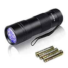 Vansky UV Black Light, Pets Ultra Violet Urine and Stain Detector Fluorescent Whitening Agents Detector, Find Dry Stains on Carpets, Rugs, Floor. 3 x AAA Batteries Included