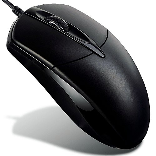 3-Buttons Ergonomic Ultra Light Wired USB Optical Gaming Mouse Optical Mice with 5ft Cord, High Precision for PC, Desktop Computer, Notebook, Laptop and Macbook Pro, Used for Gaming and Office.(Black) by PandaVic