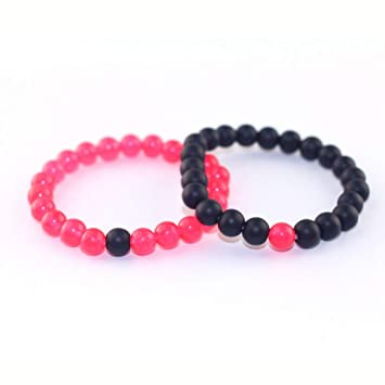 Amazon.com: DUOJINZ Couple Beaded Bracelet Rose Red Matte ...