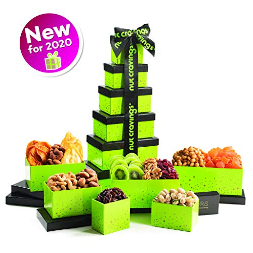 Gourmet Dried Fruit & Nut Gift Basket, Green Tower (12 Mix) – Valentine Food Arrangement Platter, Care Package Variety…
