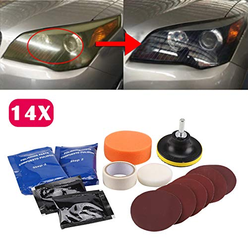 AMILIEe DIY Headlight Restoration Kit, Headlamps Cleaning and Polishing Tools for Car Motorcycle, Ultimate Headlight Restore Cleaner with UV Protection - Clear Coat ()