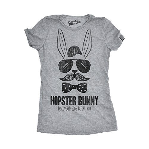 Crazy Dog TShirts - Womens Hipster Bunny Discovered Eggs Before You Funny Easter Holiday Rabbit T shirt - damen -
