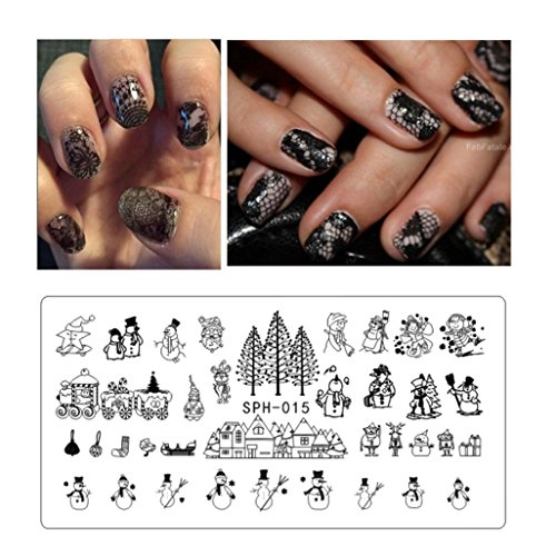 Leewa@ Holiday Themed Nail Art Stamping Plates - Occasions Collection, Halloween+Christmas -6x12cm (F)
