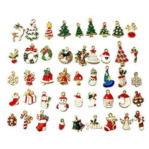 Dofilachy DIY 45pcs Christmas Pendant Charms for Necklace Bracelet Jewelry Making Christmas Tree Snowman Snowflake Deer Bell DIY Enamel Christmas Charms Decorations Pendants