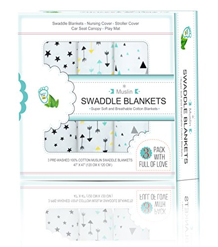 Muslin Swaddle Blankets 3 Pack | 47x47 Baby Swaddle Blanket for Boys and Girls