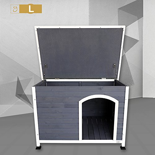Weather Protected Outdoor Dog House for Large Dog Up to 90 lbs