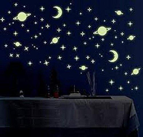 Night Glowing Radium PVC Magic Stars for Room Ceiling(4 Design) by Avneesh