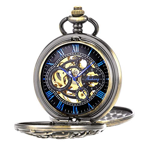 Pocket Watch Antique Dragon Mechanical Skeleton SIBOSUN Double Cover with Chain Men - Blue