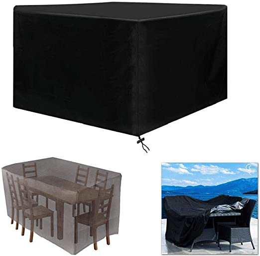 Funda Muebles Patio Negro, Funda Mesa Exterior Impermeable Oxford Funda Mesa Jardin Cubierta Protectora Anti-UV Patio Rectangular de Poliéster - Negro (Size : 308x308x98cm): Amazon.es: Hogar