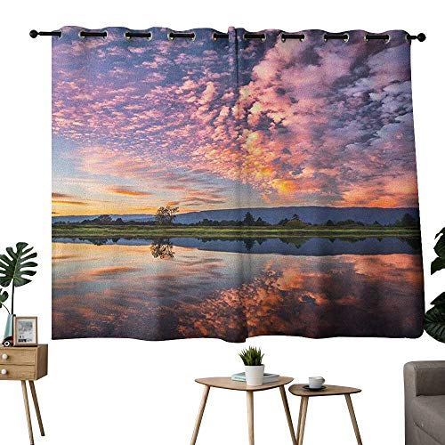 homecoco Clouds Grommet Microfiber Darkening Curtains Magical Reflection Pink Colored Clouds in Water Mirroring Scenic Weather Activity Picture Curtain for Bathroom Blue W108 x L72 ()